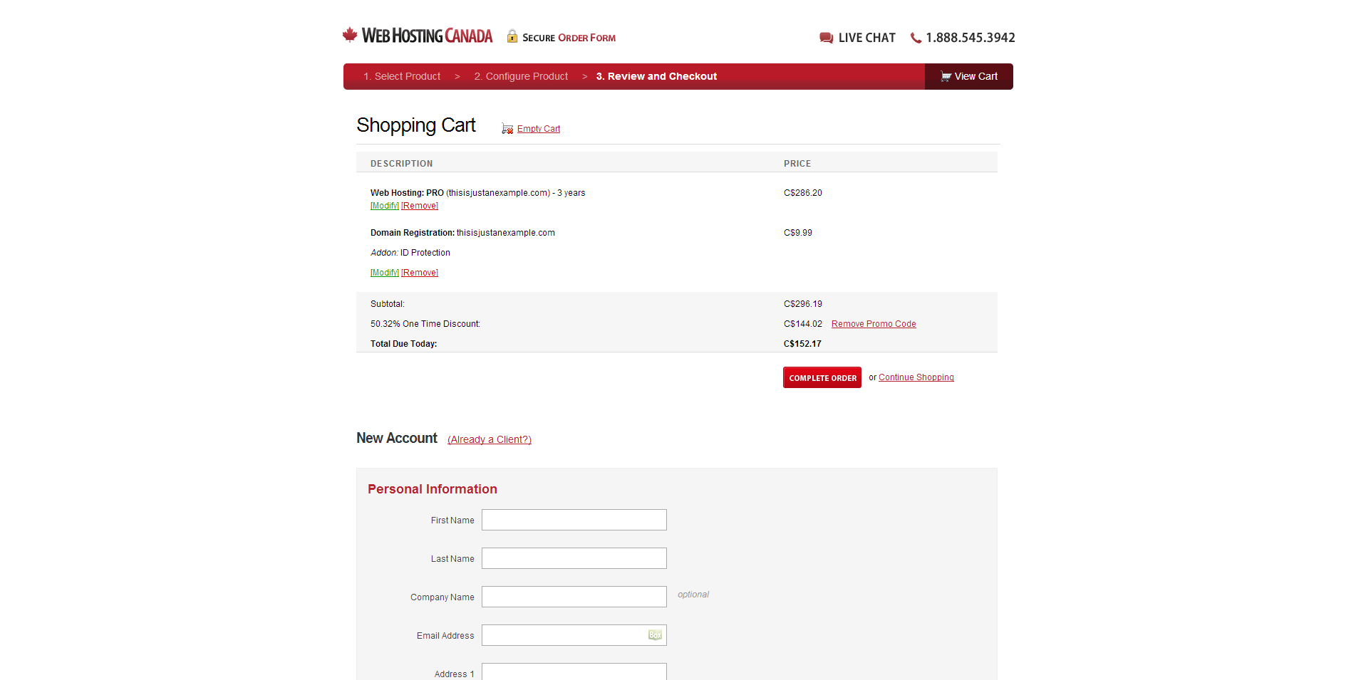 WHC.ca Billing Page
